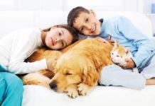 Bambini con cane e gatto