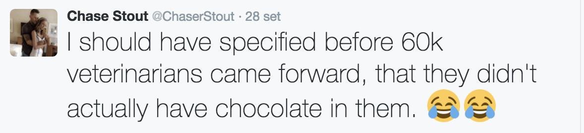 Il tweet di Chase Scout che rassicura tutti: non c'era cioccolato nei pancake di Mr. Wilson